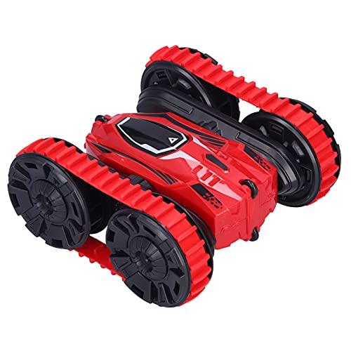 Dilwe Coche de Control Remoto, 2.4G Inalámbrico 2 en 1 Control Remoto Coche de Acrobacias 4WD Vehículos giratorios de Doble Cara Juguete para niños(Rojo)