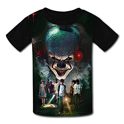 Fexy-T1T Boys Shirts Peny-Wise Girls Tee Shirt Youth Short Sleeve Teenager Youth T-Shirts Tops Black, Small