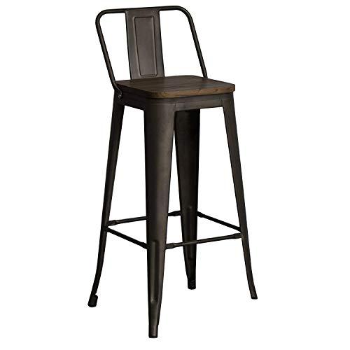 Snug Furniture - Juego de 4 taburetes de Bar industriales de Metal para Desayuno, Cocina, bistró, cafetería