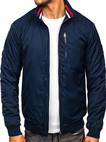 BOLF Herren Übergangsjacke Steppjacke Daunen-Optik Casual Elegant Leichte Frühlings Jacket Moderne Männer Jacke Extreme 1907 Dunkelblau XL [4D4]