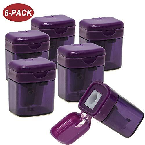 WEKOIL Pencil Sharpener,6 Pack Purple Colored Pencil Sharpener, Metal Blade Sharpener with Secure Lid Cover, Manual Pencil Sharpener for Kids,Portable Hand Held Pencil Sharpeners for Standard Pencils