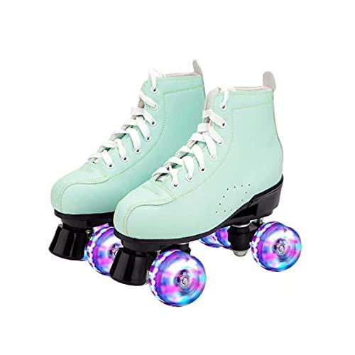 ZXSZX Rollschuhe Damen, Rollerskates Mädchen Roller Skates Mit LED-Licht Double Line Skates 4 Wheels Two Line Skating Schuhe Für Erwachsene, Grün-40