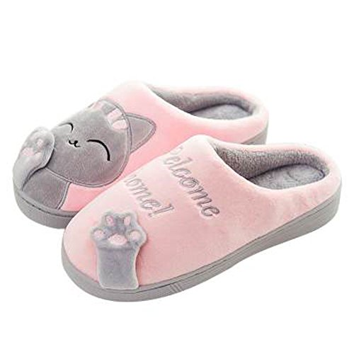 GESIMEI Kuschelige Katze Pantoffeln Warm Plüsch Hausschuhe Winter Bequeme Rutschfeste Slippers Herren Damen, Rosa, 37/38 EU (Herstellergröße: 38-39)