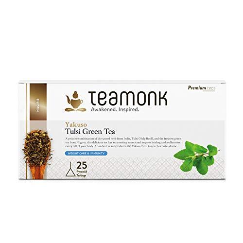 Teamonk Yakuso té verde tulsi - 30 bolsitas de té | té para adelgazar | té adelgazante | té estimulante de la inmunidad | té de albahaca natural | sin aditivos