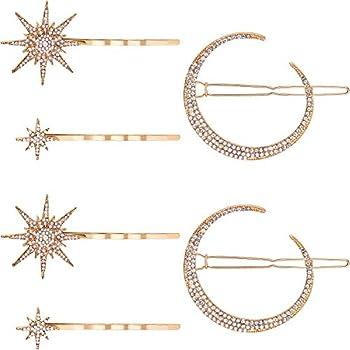 6 Pieces Stars and Moon Hair Clips Vintage Rhinestone Star Hair Pin Hair Barrettes Metal Alloy Moon Hair Pins for Women Girls Thick Hair Accessories  Gold