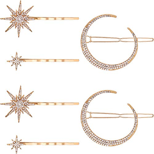 6 Pieces Stars and Moon Hair Clips Vintage Rhinestone Star Hair Pin Hair Barrettes Metal Alloy Moon Hair Pins for Women Girls Thick Hair Accessories (Gold)
