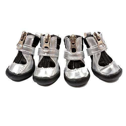 JINSUO SSGFZ Zapatos del Perro, Cuatro Estaciones, Zapatos cómodos, Antideslizante, Transpirable, Suela de Goma, Perrito Protector de Garra, Traje de Cuatro Piezas (Color : Negro, Talla : 3)