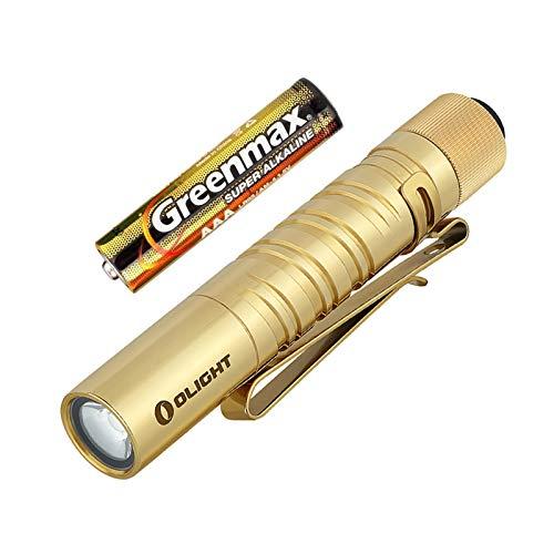 Olight I3T EOS LED Linterna Llavero,180 Lúmenes 2 Modos Antorcha Pequeña impermeable IPX8,Batería AAA Incluida,para Uso en Casa o al Aire Libre (Latón)