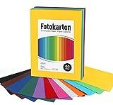 Adorfine 60 Blatt Tonkarton DIN-A4,Bastelkarton bunt 250g/m²,12 Farben Basteln Papier Bogen durchgefärbt Fotokarton zum Basteln, DIY Bogen Kartengestaltung,Verzieren Geschenken