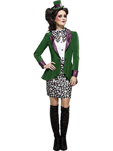 erdbeerclown - Damen Frauen Kostüm verrückter Hutmacher Rock mit Jacke Bluse und Haarreif Hut, Crazy Mad Hatter, perfekt für Halloween Karneval und Fasching, M, Grün