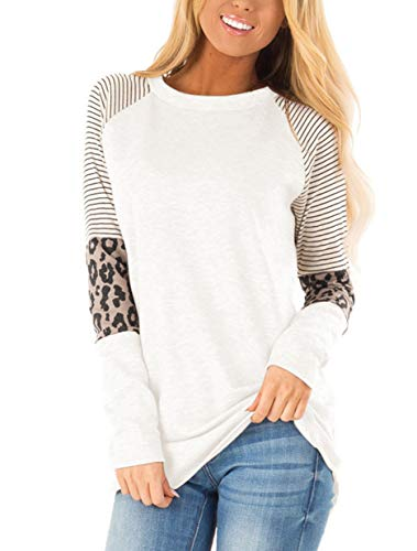 Floral Find Women's Long Sleeve Leopard Color Block Tunic Comfy Stripe Round Neck T Shirt Tops White