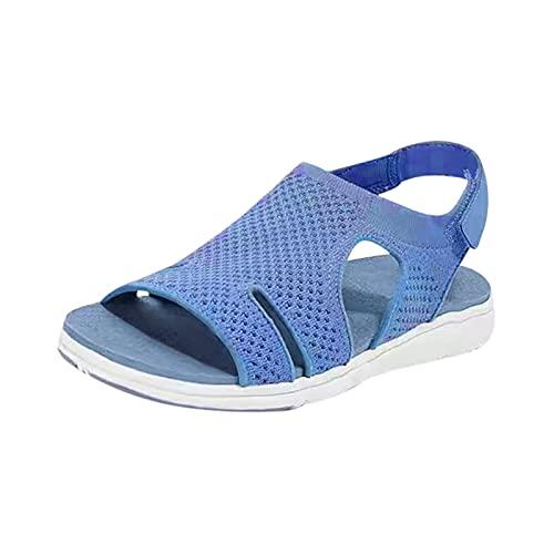 Sandalias Deportivas Unisex Sandalias Deportivas Hombre Mujer Zapatos de Pareja Planas Casual cómodo Transpirables Caminar Sandalias de Playa Verano Punta Abierta Zapatos de Vestir con Velcro