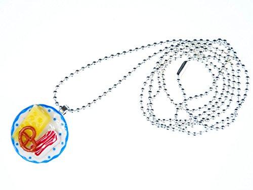 Miniblings Oktoberfest Brotzeit Teller Brezel Käse Schinken Halskette Kette 80cm - Handmade Modeschmuck - Kugelkette versilbert