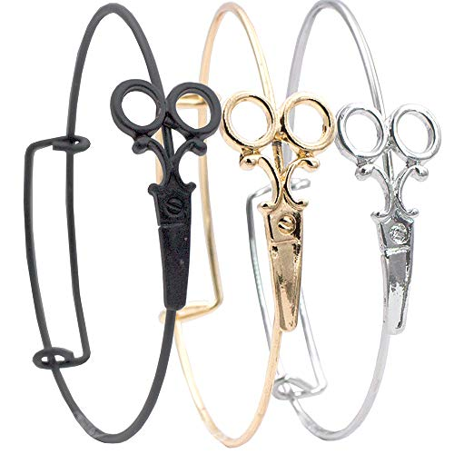 A&A Armschmuck Armband verstellbar Motiv Schere passend Friseur Anhänger Armreif Schmuck Geschenk Damen (Schwarz)