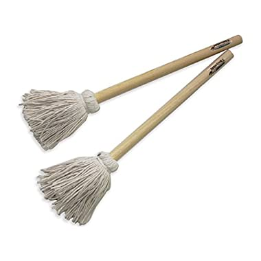 12  BBQ Basting Mops for Roasting or Grilling, Apply Barbeque Sauce, Marinade or Glazing, Cotton Fiber Head and Natural Hardwood Handle, Dish Mop Style, Perfect for Cooking or Cleaning - Pack of 2