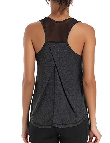 Aeuui Workout Tops for Women Mesh Racerback Tank Yoga Shirts Gym Clothes Black