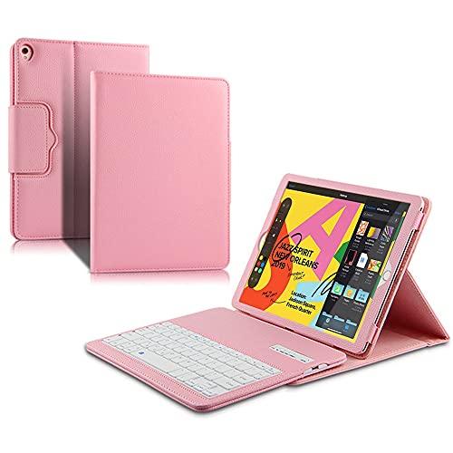 SsHhUu Funda con Teclado para iPad Pro 12.9 Case con Teclado 2017/2015, Keyboard Case Cubierta Delgada con Teclado Inalámbrico Desmontable para iPad Pro 12.9 Pulgadas,iPad Pro 12.9', Rosa