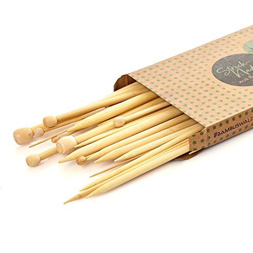 bambuswald© Agujas de tricotar 100% bambú - Agujas de Tejer:25 cm de Largo| Juego de 36 pcs (18 tamaños - 2.0 a 10.0 mm)|Agujas para Principiantes y Profesionales - Accesorios de DIY