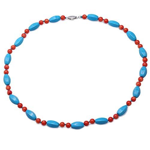 JYX - Collana fatta a mano con pietre di turchese 9 × 13,5 m irregolare blu turchese e 6 – 6,5 mm rotonde arancioni corallo collana da donna da 48,3 cm