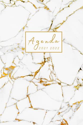 Agenda 2021 2022: Settimanale 16 mesi, Giornaliera Settembre 2021-Dicembre 2022. Marmo Bianco