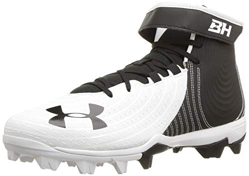 Under Armour Men's Harper 4 Mid RM Baseball Shoe, White (100)/Black, 8.5