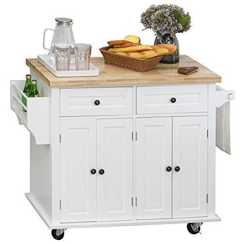 Desserte de cuisine multi rangements 2 tiroirs 2 placard 2 portes avec étagère range-bouteille...