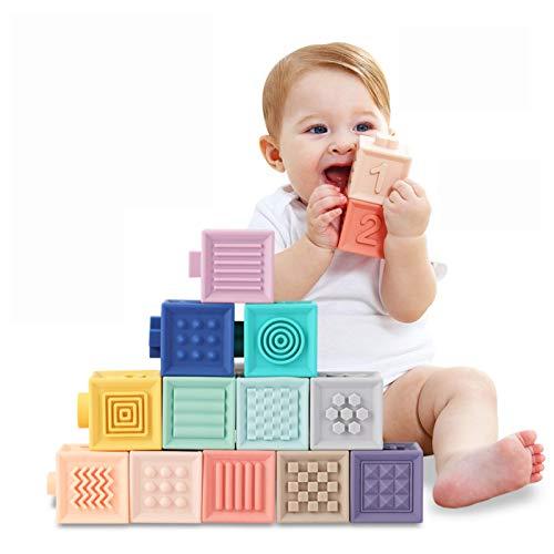 TUMAMA Giochi Neonato 6 Mesi Blocchi per Bambini Impilabile cubi Primi Neonato Dentizione Giocattoli da Masticare Giocattoli Educativi da Bagno per Bambini Gioca Numeri Animali Forme 1-3 Anno(12pcs)