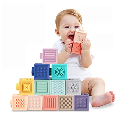 Giochi Neonato 6 Mesi Blocchi per Bambini Impilabile cubi primi neonato Dentizione Giocattoli da Masticare Giocattoli Educativi da Bagno per Bambini Gioca Numeri Animali Forme Trame 1-3 anno(12pcs)
