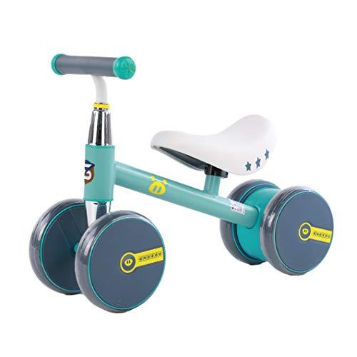 1-3 años de Edad Mini Bicicleta bebé Balance Cochecito de Cochecito Ajustable Cochecito, se Puede Utilizar como un Regalo de cumpleaños niño y niña. El té de Leche es Verde