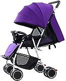 Dpliu Cochecito de bebé ligero y portátil con amortiguador, asiento reclinable, plegable y triciclo