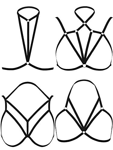 4 Pieces Women Harness Strappy Hollow Out Cross Elastic Cage Bra Cupless Bra Body Lingerie for Ladies Girls (Trendy Style)