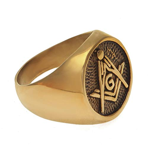 Feinny Gold Color Stainless Steel AG Masonic Ring, Master Mason Signet Punk Band Jewelry, Punk Hip Hop Party Gift Accessories Men/Women Unisex Personality Vintage Rings Jewelry, 8-11 Size,10