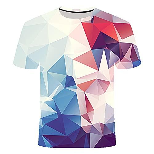 Shirt Sin Cuello Hombre Estilo Hip Hop Verano Cuello Redondo Hombre Shirt Vintage 3D Creativo Estampado Manga Corta Hombre T-Shirt Novedad Tendencia Moda Hombre Ropa De Calle TD02 6XL