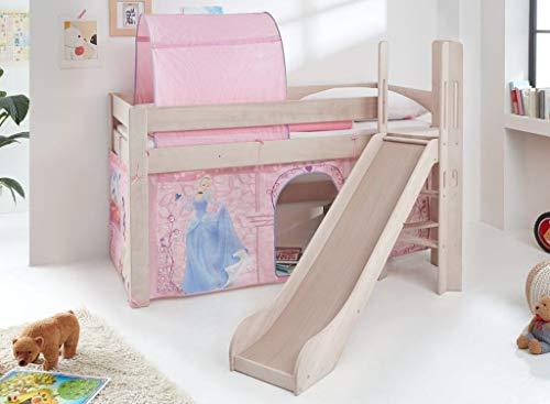 Froschkönig24 Hochbett Leo Kinderbett mit Rutsche Spielbett Bett Weiß Stoffset Cinderella
