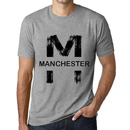 One in the City Hombre Camiseta Vintage T-Shirt Gráfico Letter M Countries and Cities Manchester Gris Moteado