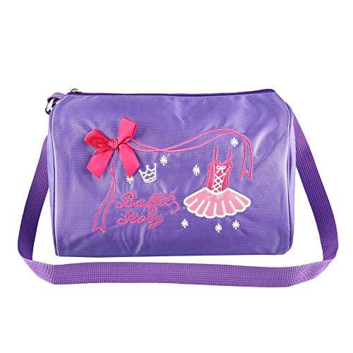 Keenso Bolso Lindo de la Danza niñas, Bolso Bordado de la Mochila del Bolso de la natación del Ballet de la Danza(Púrpura)
