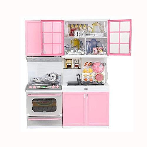 Modern Kids Play Kitchen,丨Kids Play Kitchen with Toy Accessories Set,Best Chefs Kitchen Playset,Mini Kids Kitchen Pretend Play 丨Cooking Set Cabinet Stove Girls Toy (Pink)