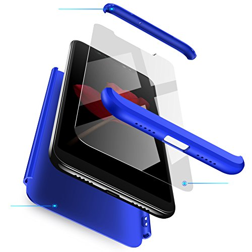 Funda Xiaomi Mi Mix 2s Azul,Case Mi Mix 2s Ultra Fina Carcasa 360°Complete Package Protectora Caja Anti-Dactilares PC Hard Cover Bumper Skin cojín Compatible Xiaomi 3D 9H Vidrio Templado