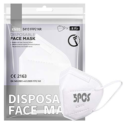 [5 PCS] FFP2 / KN95-Gesichtsmaske, 5-Lagen-Schutzmaske FFP2 CE-zertifiziert Hohe Filtrationskapazität Größe M / L Weiß