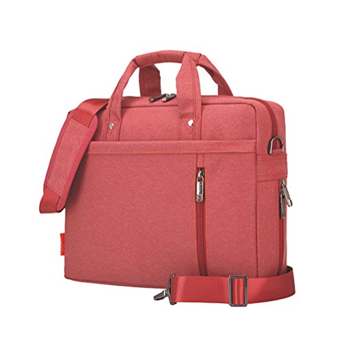 LOSORN ZPY Hohe Kapazität Laptop-Tasche Umhängetasche Messenger Bag Handtasche mit Schultergurt Aktentasche für iPad Pro/MacBook Air/MacBook/Notebook Computer Rot 17 Zoll