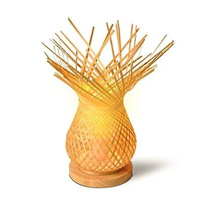 Natural: Lámpara de mesa elegante y desenfadada, fabricada a mano con malla de mimbre/bambú/ratán, una variedad de palmera con tallos similares a los del bambú. Material resistente a la oxidación y corrosión. Ambiente Acogedora: La malla de mimbre pe...