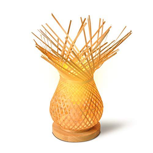BarcelonaLED Lampada da tavolo vintage paralume in vimini bambù intrecciato rustico, base in legno con portalampada E27 LED per testiera camera da letto soggiorno scrivania comodino