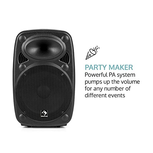 "AUNA Streetstar 15 - Set Cassa Trolley + Custodia, Impianto Karaoke Portatile, 2 Microfoni Wireless, Subwoofer 15"", Bluetooth, Porta USB SD MP3, OUC, AUX, Nera"