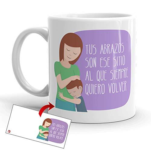 Kembilove Taza Desayuno para Madres – Tazas Originales Graciosas con Mensaje Tus abrazos son ese sitio al que siempre quiero volver – Taza de Café y Té para Madres para regalar el día de la madre
