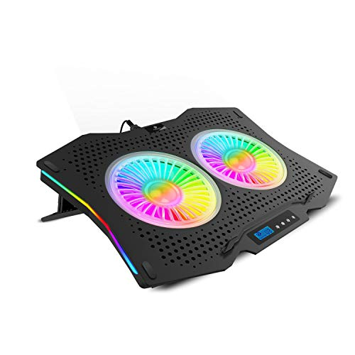 ZEBRONICS Zeb- NC9000 Laptop Cooling pad with Dual 110mm Fan, Multi-Color Led Including 10 Multi Color LED Modes and has RGB Strips on The Both Sides