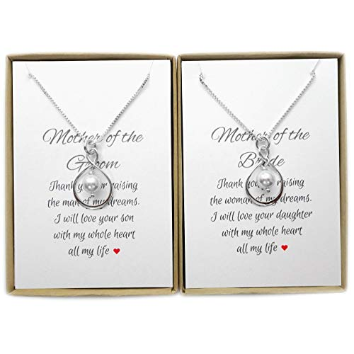 Set of 2 Infinity Necklaces, Mother of the Bride and Mother...