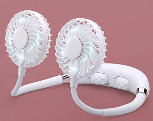 XIXIDIAN Ventilador portátil del cuello, USB recargable con 3 velocidades y luces de 7 colores, mini diseño de diseño de banda de cuello portátil para el estiércol de refrigeración de la cabeza de dob