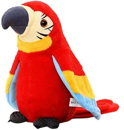 FakeFace Lustiges Sprechender Papagei Nachsprechendes Plüschtier Wiederholenfunktion Kuscheltiere mit den Flügeln winken, Plüschvogel, Talking Parrot Plüsch Spielzeug für Kinder,ROT