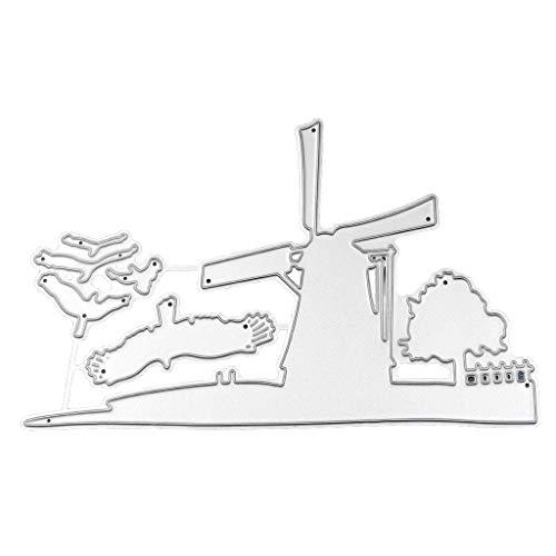 GUMEI Album Timbre Moulin à Vent Maison métal découpe Matrices Pochoir Scrapbooking Bricolage Album Timbre gaufrage