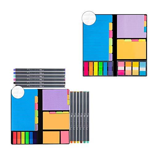 JARLINK 590-in-1 Divider Sticky Notes Set with 12 Colors Journal Planner Pens Bundle with 976-in-1 Divider Sticky Notes Set, Super Sticky Page Markers Prioritize